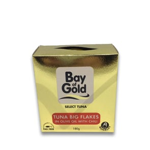Bay of Gold Tuna Big Flakes in Olive Oil with Chili